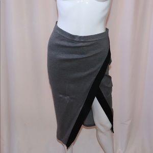 Bebe Gray and Black open slit skirt